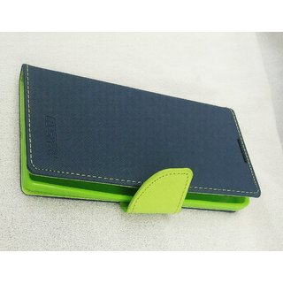 Mobile smartphone flip cover  case for LYF Wind 7 (green with blue)