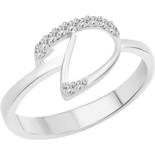 Vidhi Jewels Rhodium and Silver Plated Initial D Alloy  Brass Finger Ring for Women  Girls VFR268R