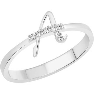 Vidhi Jewels Rhodium and Silver Plated Initial A Alloy  Brass Finger Ring for Women  Girls VFR270R
