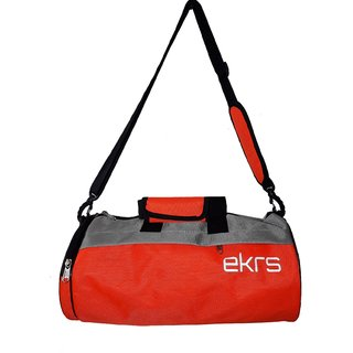 44030a35cb Buy Ek Retail Shop Travel Sports Bag for Women and Men Small Gym Bag ( Size  17 x 8 x 8 inches) - Grey Orange Online - Get 60% Off