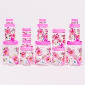 Set of 15 Plastic Container Set  2000 ml 3 pcs 1000 ml 3 pcs 700 ml 3pcs  150 ml 3 pcs 50 ml 3 pcs (Pink) BY Print Magic