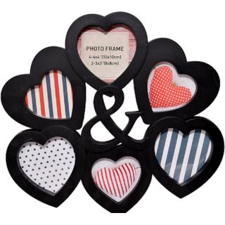 Buy Oaf Designer Heart Shape Wall Mounted 6 Photo Collage Frame