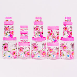 Set of 15 Plastic Container Set  2000 ml 3 pcs 1000 ml 3 pcs 700 ml 3pcs  150 ml 3 pcs 50 ml 3 pcs (Pink) BY Print Magic