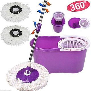 Klink Easy mop 360 Degree Magic Spin Mop For Fast  Easy Cleaning with 2 Microfiber Heads