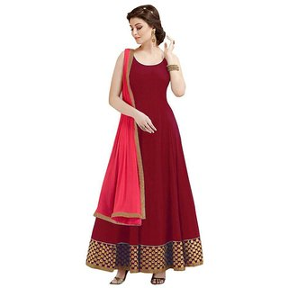 Stylezone maroon Embroidered Anarkali Suit -TM6047