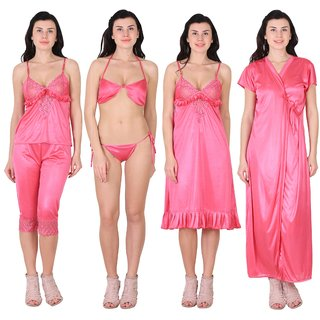 RAJAN  TRADERS Pink Satin Plain Nightwear Sets