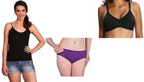 Woman Era Multicolored camisole/ bra /  panties set of 3