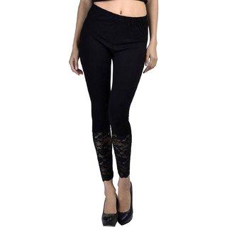 Black Ankel Length CutWork Designer Legging