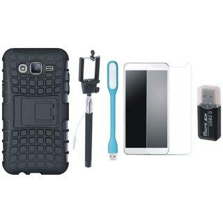 Lenovo K4 Note Shockproof Kick Stand Defender Back Cover with Memory Card Reader, Free Selfie Stick, Tempered Glass, and LED Light