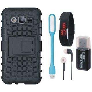 Vivo V5 Shockproof Kick Stand Defender Back Cover with Memory Card Reader, Digital Watch, Earphones and USB LED Light