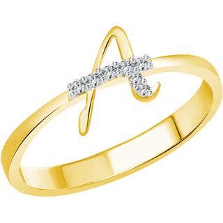 Vidhi Jewels Gold Plated Initial A Alloy  Brass Finger Ring for Women  Girls VFR270G
