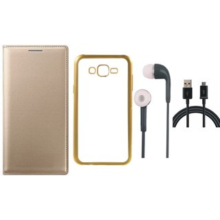 Samsung J5 Prime SM-G570F Flip Cover with Free Silicon Back Cover, Earphones and USB Cable