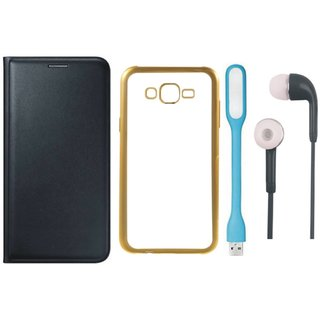 Premium Quality Leather Finish Flip Cover for Coolpad Note 3 Lite with Free Silicon Back Cover, Earphones and USB LED Light