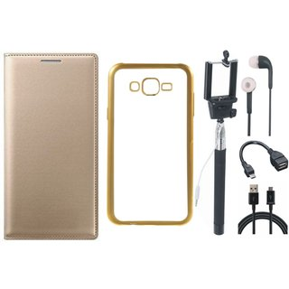 Premium Quality Leather Finish Flip Cover for Coolpad Note 3 with Free Silicon Back Cover, Selfie Stick, Earphones, OTG Cable and USB Cable
