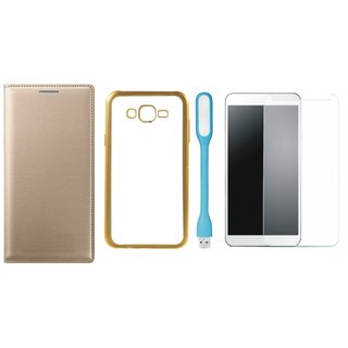 Premium Quality Leather Finish Flip Cover for Coolpad Note 3 Lite with Free Silicon Back Cover, Tempered Glass and USB LED Light