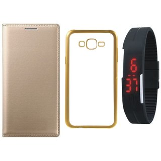 Leather Finish Flip Cover for Coolpad Note 3 with Free Silicon Back Cover, free Digital Watch