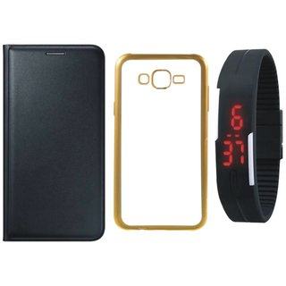 Coolpad Note 3 Leather Finish Cover with Free Silicon Back Cover, Digital Watch