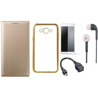 Samsung J5 Prime SM-G570F Flip Cover with Free Silicon Back Cover, Tempered Glass, Earphones and OTG Cable