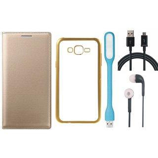 Coolpad Note 3 Lite Leather Finish Cover with Free Silicon Back Cover, Earphones, USB LED Light and USB Cable