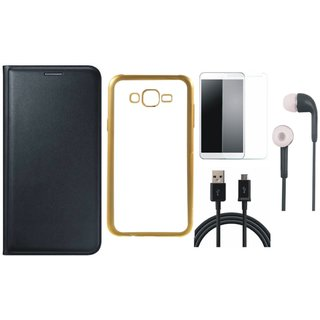 Coolpad Note 3 Lite Leather Finish Cover with Free Silicon Back Cover, Earphones, Tempered Glass and USB Cable