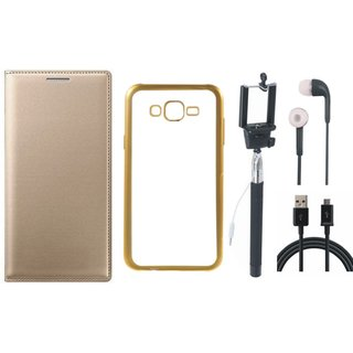 Leather Finish Flip Cover for Coolpad Note 3 with Free Silicon Back Cover, free Selfie Stick, free Earphones and Free USB Cable