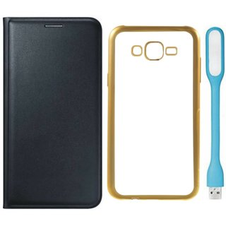 Coolpad Note 3 Lite Leather Finish Cover with Free Silicon Back Cover, USB LED Light
