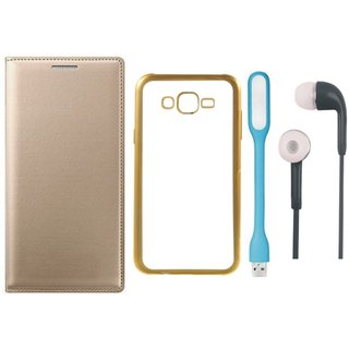 Samsung J5 Prime SM-G570F Flip Cover with Free Silicon Back Cover, Earphones and USB LED Light