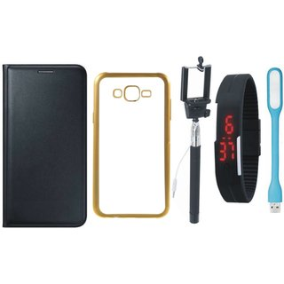 Leather Finish Flip Cover for Coolpad Note 3 Lite with Free Silicon Back Cover, free Selfie Stick, free Digtal Watch and Free USB LED Light