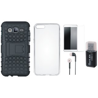 Lenovo K5 Shockproof Kick Stand Defender Back Cover with Memory Card Reader, Silicon Back Cover, Tempered Glass and Earphones