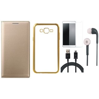 Coolpad Note 3 Lite Leather Finish Cover with Free Silicon Back Cover, Tempered Glass, Earphones and USB Cable