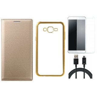 Premium Quality Leather Finish Flip Cover for Coolpad Note 3 Lite with Free Silicon Back Cover, Tempered Glass and USB Cable