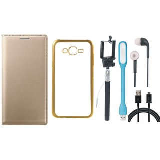 Leather Finish Flip Cover for Coolpad Note 3 with Free Silicon Back Cover, free Selfie Stick, free Earphones, free USB LED Light and Free USB Cable