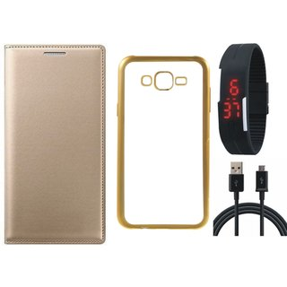 Premium Quality Leather Finish Flip Cover for Coolpad Note 3 with Free Silicon Back Cover, Digital Watch and USB Cable