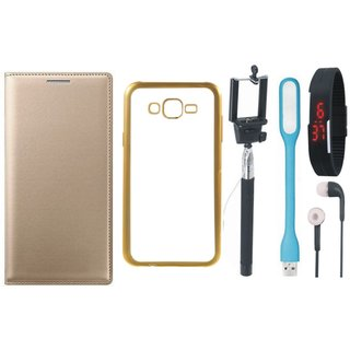 Samsung J5 Prime SM-G570F Flip Cover with Free Silicon Back Cover, Selfie Stick, Digtal Watch, Earphones and USB LED Light