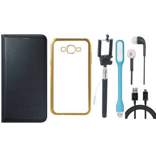 Coolpad Note 3 Leather Finish Cover with Free Silicon Back Cover, Selfie Stick, Earphones, USB LED Light and USB Cable