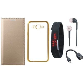 Samsung J5 Prime SM-G570F Premium Leather Finish Flip Cover with Free Silicon Back Cover, Digital Watch, Earphones and OTG Cable
