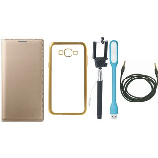 Coolpad Note 3 Leather Finish Cover with Free Silicon Back Cover, Selfie Stick, USB LED Light and AUX Cable