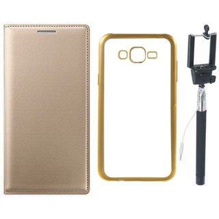 Premium Quality Leather Finish Flip Cover for Coolpad Note 3 Lite with Free Silicon Back Cover and Selfie Stick