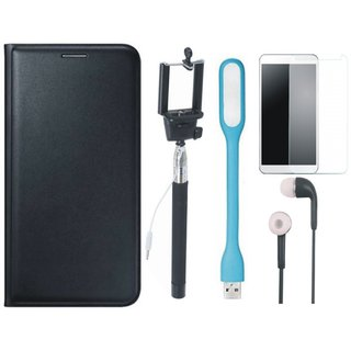 Coolpad Note 3 Lite Flip Cover with Free Selfie Stick, Tempered Glass, Earphones and LED Light