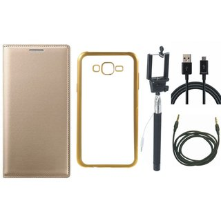 Premium Quality Leather Finish Flip Cover for Coolpad Note 3 Lite with Free Silicon Back Cover, Selfie Stick, USB Cable and AUX Cable