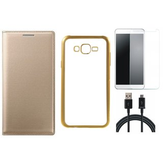 Samsung J5 Prime SM-G570F Flip Cover with Free Silicon Back Cover, Tempered Glass and USB Cable