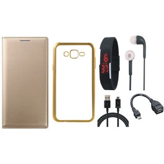 Samsung J5 Prime SM-G570F Premium Leather Finish Flip Cover with Free Silicon Back Cover, Digital Watch, Earphones, OTG Cable and USB Cable
