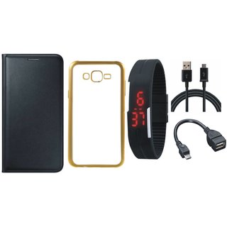 Premium Quality Leather Finish Flip Cover for Coolpad Note 3 Lite with Free Silicon Back Cover, Digital Watch, OTG Cable and USB Cable