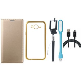 Coolpad Note 3 Leather Finish Cover with Free Silicon Back Cover, Selfie Stick, USB LED Light and USB Cable