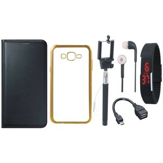 Samsung J5 Prime SM-G570F Premium Leather Finish Flip Cover with Free Silicon Back Cover, Selfie Stick, Digtal Watch, Earphones and OTG Cable