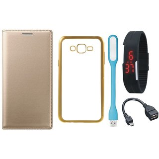 Leather Finish Flip Cover for Samsung J5 Prime SM-G570F with Free Silicon Back Cover, free Digital Watch, free OTG Cable and Free USB LED Light
