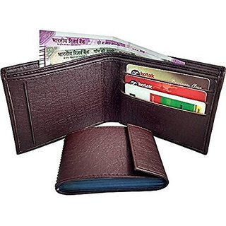 first Man  Brown Artificial Leather Wallet (6 Card Slots) (Synthetic leather/Rexine)
