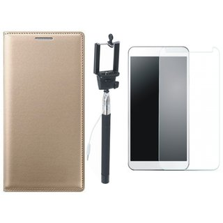Leather Finish Flip Cover for Coolpad Note 3 Lite with Free Selfie Stick and Free Tempered Glass