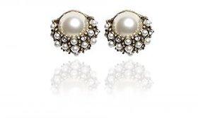 The Pari Beautiful White And Gold Earrings (TPER-508)