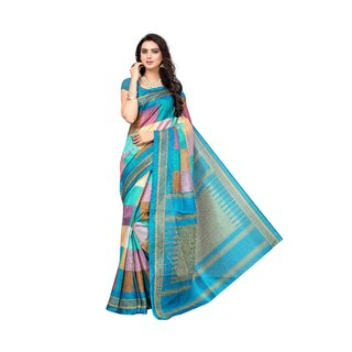 Fabwomen Multicolor Bhagalpuri Silk Floral Saree With Blouse